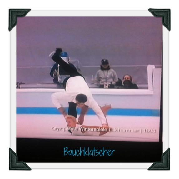 Bauchklatscher beim Eiskunstlauf. Olympische Winterspiele in Lillehammer. Gesehen bei Lanz.