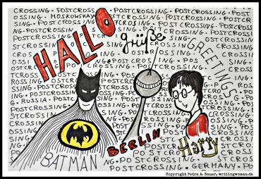 Customized Postcrossing Card für Batman- und Harry-Potter-Fan. Zeichnung: Petra A. Bauer 2014