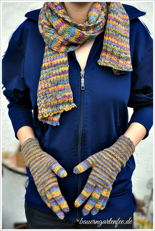 Kuschliger Schal und Handschuhe mit Strickanleitung