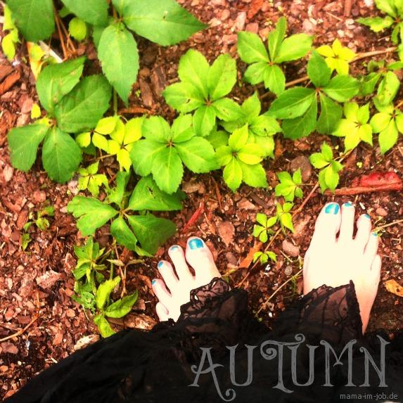 Füße mit Wildem Wein auf Rindenmulch. Autumn Feet. #halloherbst13