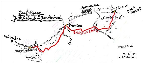 Barfussweg zwischen Jakobsbad und Gontenbad. Zeichnung: Petra A. Bauer 2014.