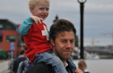 Björn aus Stockholm mit seinem Sohn