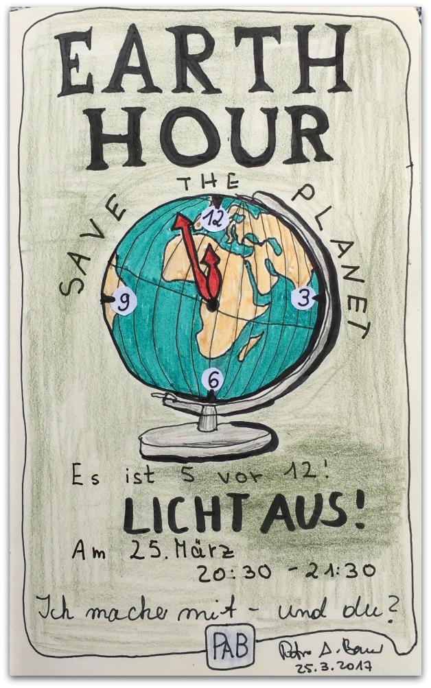 Earth Hour am 25. März 2017 von 20:30 bis 21:30 Uhr. Zeichnung: Petra A. Bauer