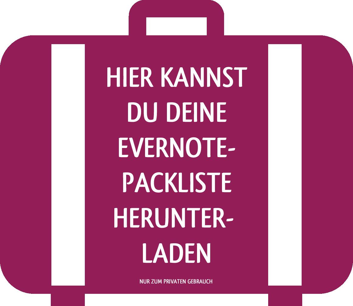Hier könnt ihr meine Evernote-Packliste zum privaten Gebrauch herunterladen. Copyright Petra A. Bauer 2017