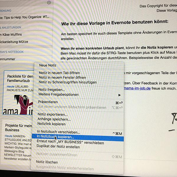 Evernote-Notiz kopieren