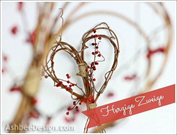 Herzförmige Zweige als Deko zum Valentinstag