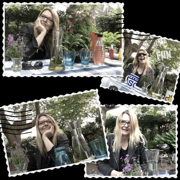 Petra mit Pfefferminztee im Garten