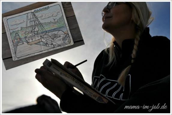 Zeichnen im kleinen Hafen von Raftötången. Foto: Selfie Petra A. Bauer 2014.