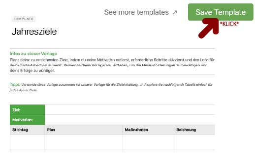 Template in Evernote speichern