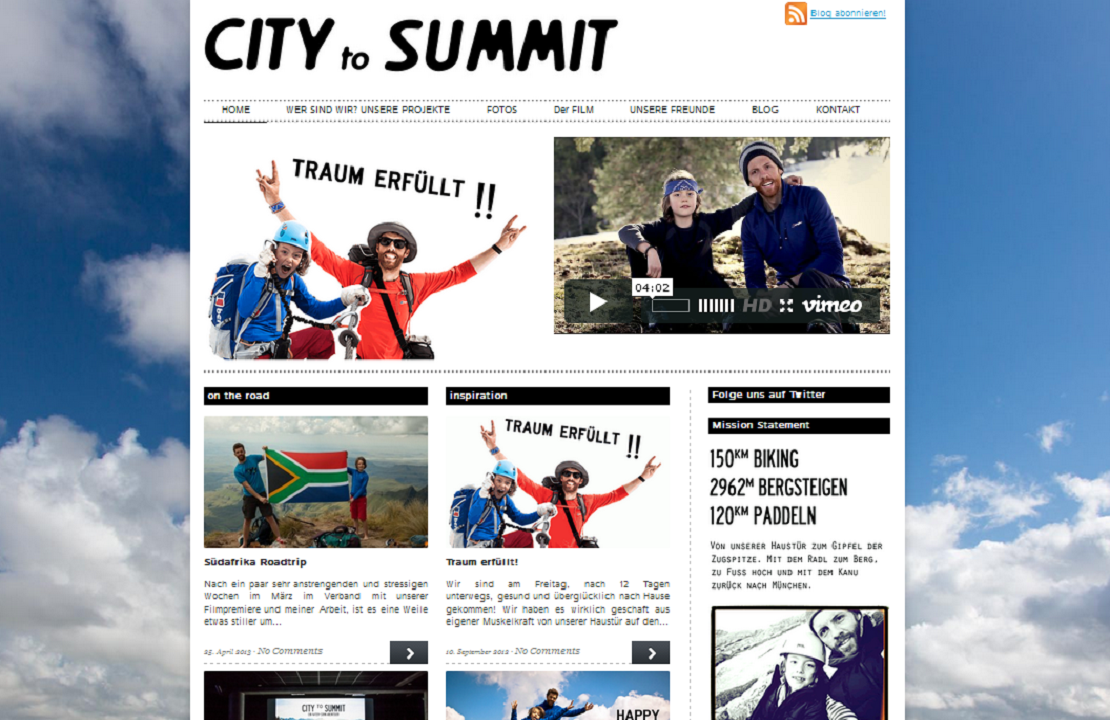 City to Summit. Screenshot der Website.