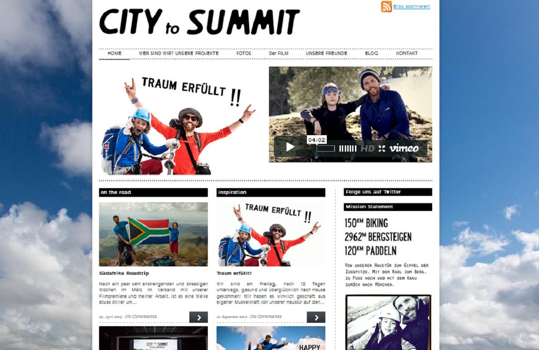City to Summit. Screenshot der Website.