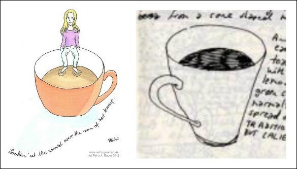 Was Einfaches zeichnen. Zum Beispiel Tasssen. Muss ja nicht gleich jemand drin sitzen.