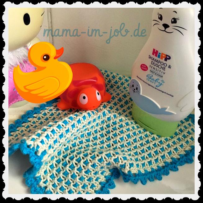Ein gestrickter Waschlappen fürs Baby. Realisation und Foto: Petra A. Bauer 2016