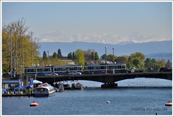 Zürichsee mit Alpen im Hintergrund. Foto: Petra A. Bauer 2014.